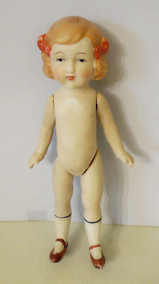 "8"" All Bisque Girl Doll Made In Japan With Hair Bows"