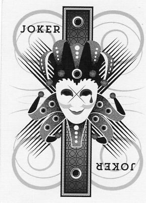 "RARE MINT ""Bicycle Type - Black & White Joker Crying"" JOKER Playing Card #23"