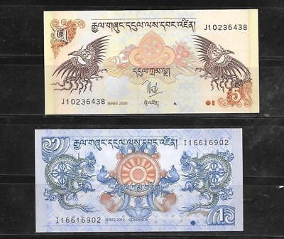 Bhutan 2 Different Unc Banknote Paper Money Currency Bill Note Lot Collection