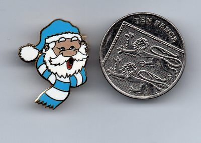 A Santa Is A Blue And White Football Fan   Pin Badge