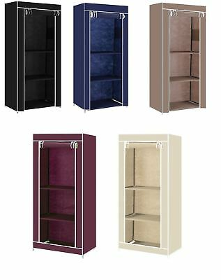 Vinsani Single Canvas Clothes Storage Organiser Wardrobe Cupboard Shelves