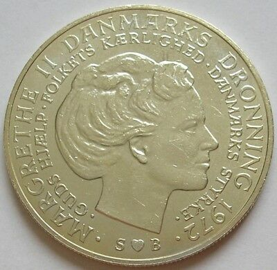 1972 Denmark  Silver 10 Kronor Coin  Accession Of Queen Margrethe Ii  Unc