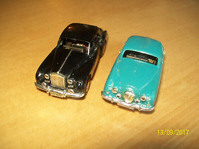 2 Working Minic Motorway Cars Black Rolls Royce & Blue Jaguar Saloon
