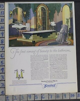 1928 Standard Modern Tile Bath Room Tub Sink Home Decor Vintage Art Ad  Cg17
