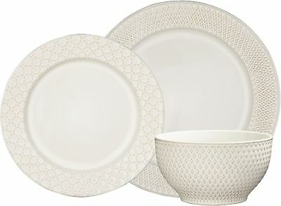 NEW Tesco Riven 12 Piece Stoneware Dinner Set - Cream