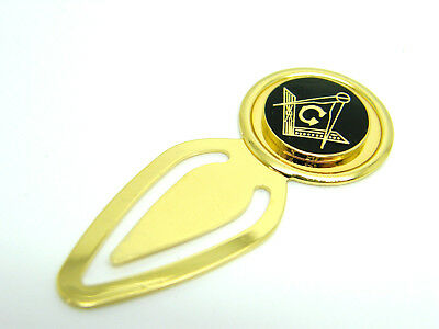 Masonic G Badge Bookmark Square And Compass Gift In Pouch Black Enamelled