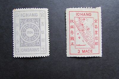 XL2961: Two China 'Ichang' Stamps – 3 Candarins Grey & 3 Mace Rosine (1894)