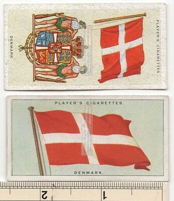 DENMARK Flag and Banner Two 80+ Y/O Ad Trade Cards