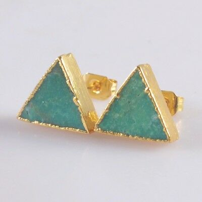 10mm Triangle Natural Genuine Turquoise Stud Earrings Gold Plated T046862