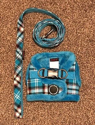 Puppia Uptown II Fur Lined Jacket Harness and Lead Set Size Small S