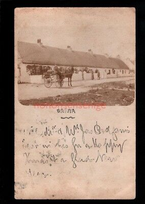 IRELAND Co Galway BARNA IRISH CART & THATCHED COTTAGES REAL PHOTO PC 1903 - 32