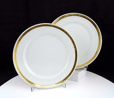 "Old Paris 2 Piece Antique White And Gold Trim 7 1/4"" Side Plates 1880-1910"