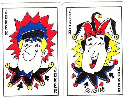 "Pair RARE MINT ""Double Sided"" JOKER Playing Cards #273"