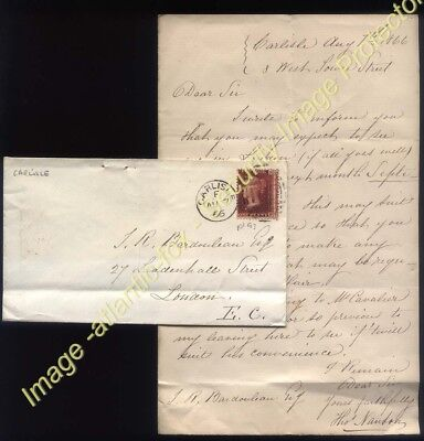 1866 1d red plate 93, CARLISLE + Letter Thomas Nanton, West Tower St to LONDON