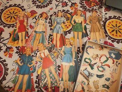 Group Lot Vintage Antique Paper Dolls WWII Era w/ Clothing Outfits & Names