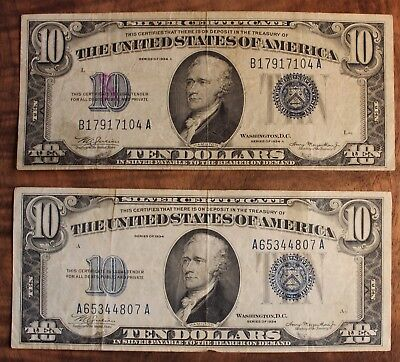 1934 1934A Ten Dollar Silver Certificate Lot Of 2 US Currencies Blue Seal $10.00