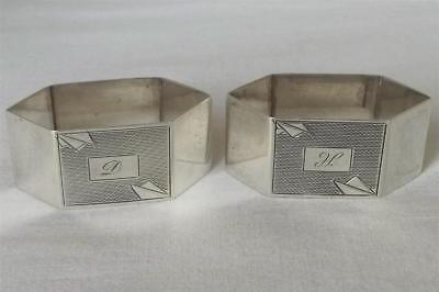 A Stunning Pair Of Solid Sterling Silver Hexagonal Art Deco Napkin Rings 1941.