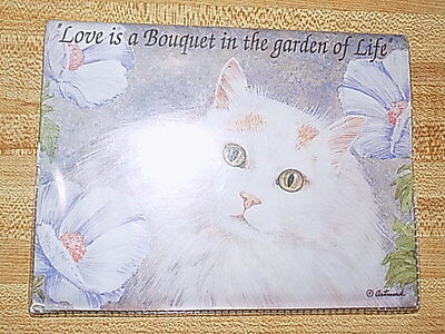 "Vintage Cute Cat Address Book Compact 7"" x 5 1/4"" x 3 and 3/4"" NEW Love Garden"