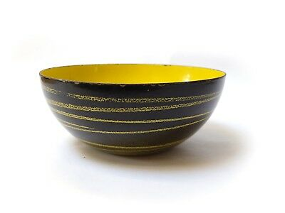 "1954 MID CENTURY GRETE PRYTZ KITTELSEN CATHRINEHOLM 8"" SATURN BOWL Yellow Black"