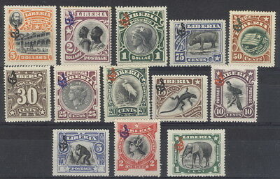 Liberia 1906 pictorial official set of 13, MINT #O46-58, hippo, birds, elephant