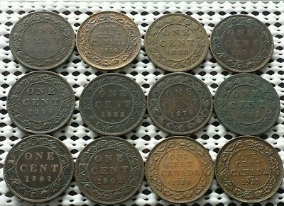 Lot of 12 Large Cent Coins ❀ 1800's 1900's❀ Canada Penny Collection Group 1 of 5