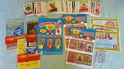Garbage Pail Kids Lot PENCIL BILLBOARDS STICKERS BUTTON 170 CARDS