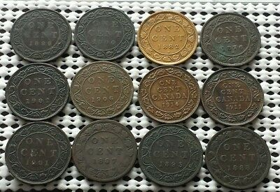 Lot of 12 Large Cent Coins ❀ 1800's 1900's❀ Canada Penny Collection Group 3 of 5