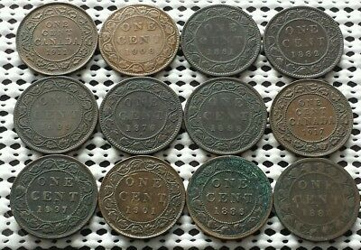 Lot of 12 Large Cent Coins ❀ 1800's 1900's❀ Canada Penny Collection Group 4 of 5