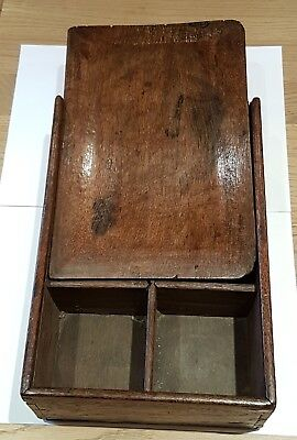 Rare 1700's English Oak spice box 6 compartments sliding lid good patina Treen