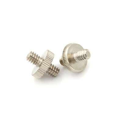 2PCS 1/4'' Male to 1/4'' Male Threaded Screw Adapter For Tripod Mount Holder TB