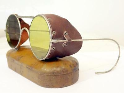 Vintage R.A.F. WWII SUNGLASSES / GOGGLES ANTI GLARE ORIGINAL w/ ISSUED TIN VGC