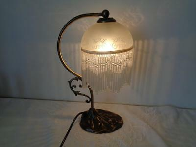 Retro French Art Nouveau Brass Table Light Glass Charleston Shade Electric Plug