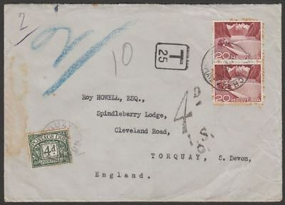Switzerland 1950 20c x2 Used on Cover Zurich to UK w GB 4d Postage Due + IS Mark