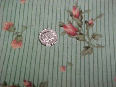 Vintage Estate Cotton Fabric Quilt Sew Print Rosebuds Green Pink Craft Material