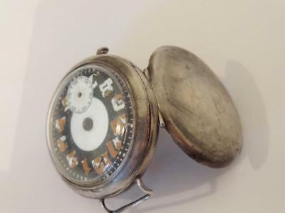 WWI TRENCH WRISTWATCH SILVER 1916 / 17 (a) LONDON IMPORT w/ TWO SPONSORS STAMPS