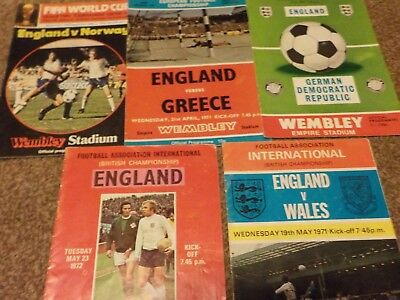 5 ENGLAND Home programmes,1970 to 1980 at Wembley