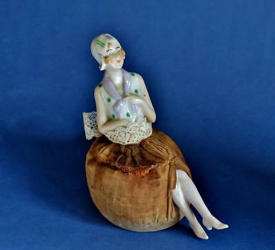STUNNING ORIGINAL 1920s ART DECO PORCELAIN Full Size LADY PIN CUSHION