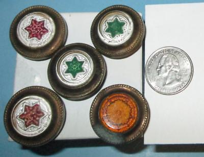 """5 Antique """"Victorian"""" Glass Topped Picture Nails - 1"""" Diameter w/ 6-point stars"""