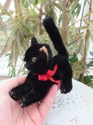 Rare Small Vintage Antique Mohair Toy Halloween Black Scaredy Cat Schuco Grisly
