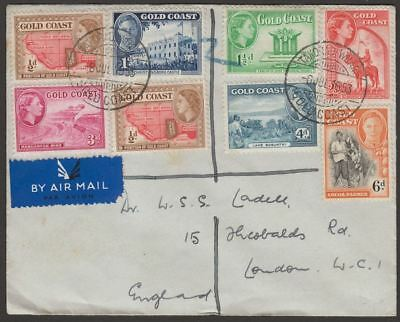 Gold Coast 1953 KGVI-QEII Multi-Stamp Airmail Cover Used with TAKORADI Postmarks