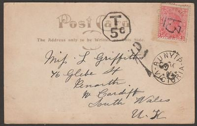 Victoria 1905 1d Used on Picture Postcard to UK w BUNYIP Postmark and 5c T Mark