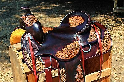 """16"""" 2 Tone Hard Seat Western Rodeo Barrel Horse Ranch Trail Leather Saddle Tack"""