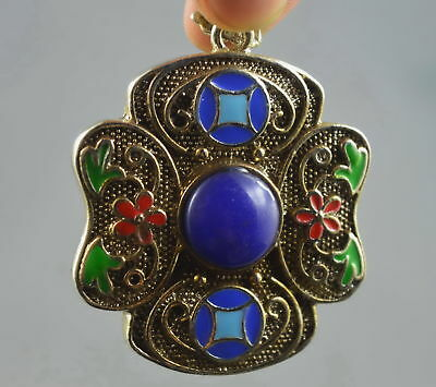 Collectable Handwork Old Miao Silver Carving Colorful Flower Inlay Agate Pendant