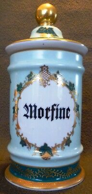 HUGE DRUG MORPHINE MORFINE Apothecary Pharmacy Chemist Porcelain Jar pot vessel