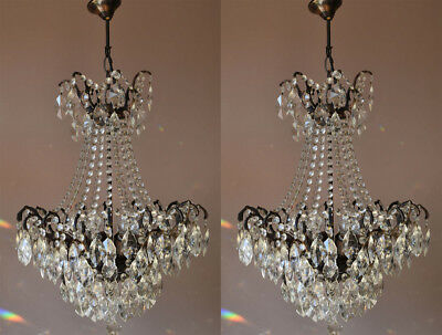 Matching Pair Lights Antique French Vintage Crystal TWO Chandelier Lamp Lighting