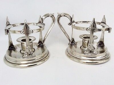 Rare Pair Of Antique Art Nouveau Silver Plated Chambersticks J Dixon&Sons C.1900