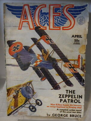 """April 1931 issue of """"Aces"""" magazine aviation art cover"""