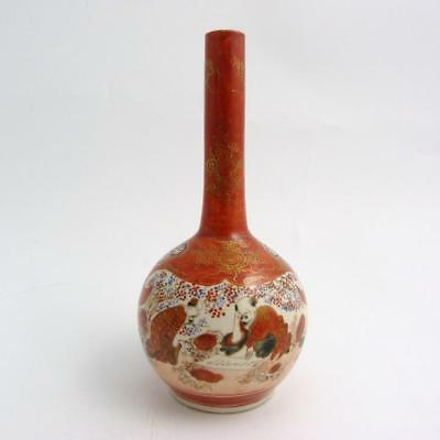 Japanese Kutani Bottle Vase, Meiji Period, Signed To Base
