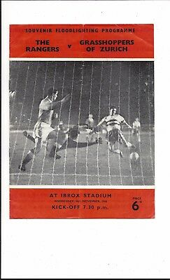 RANGERS v GRASHOPPERS OF ZURICH 1958 FRIENDLY GOOD CONDITION