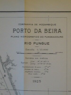 Vintage Hydrographic Plan Of Port Of Beira - River Pungue Mozambique 1925  GC